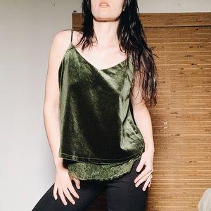 Green Velvet V-Neck Tank Top